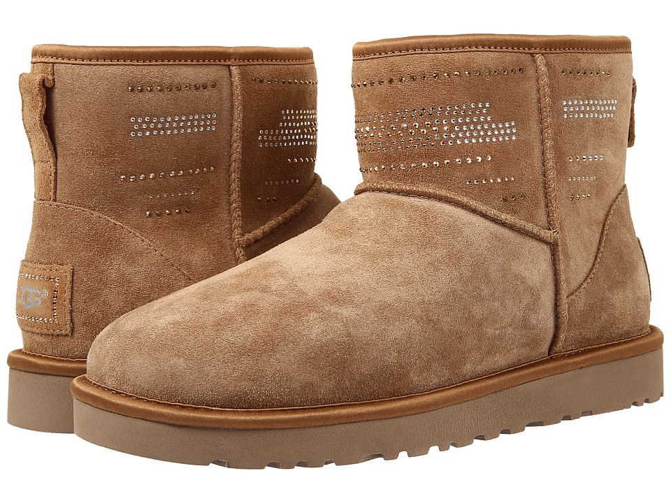 UGG - Classic Mini Serape Bling (Chestnut Suede) Women's Pull-on Boots