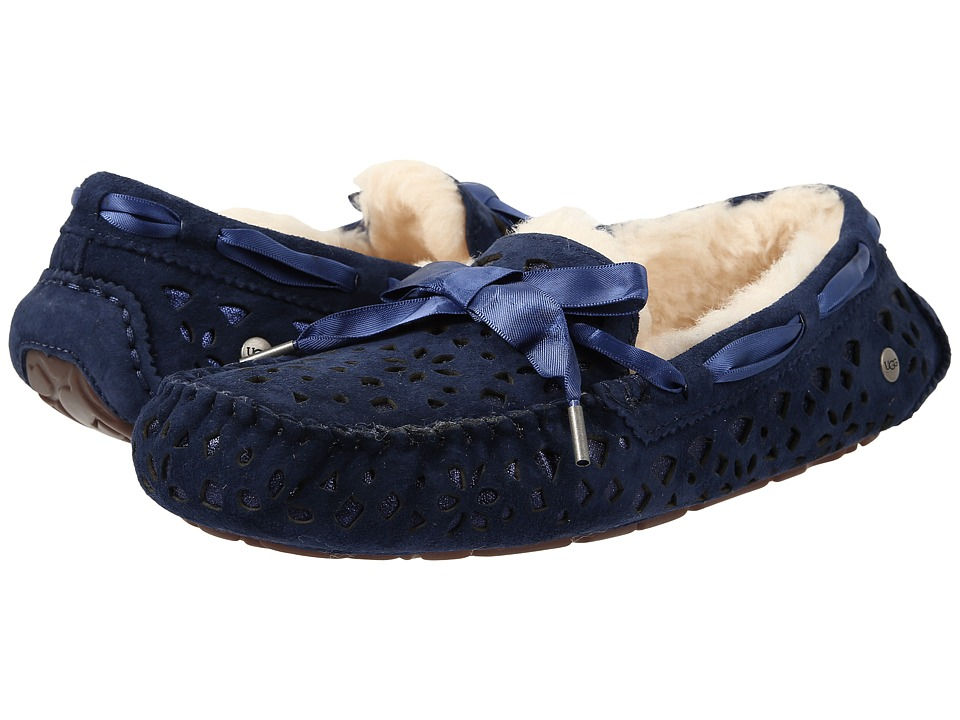 UGG - Dakota Flora Perf (Navy Water Resistant Suede) Women's Moccasin Shoes