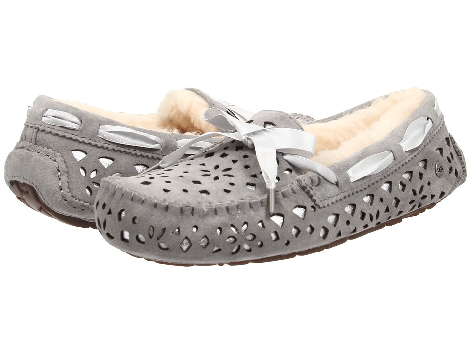 UGG - Dakota Flora Perf (Light Grey Water Resistant Suede) Women's Moccasin Shoes