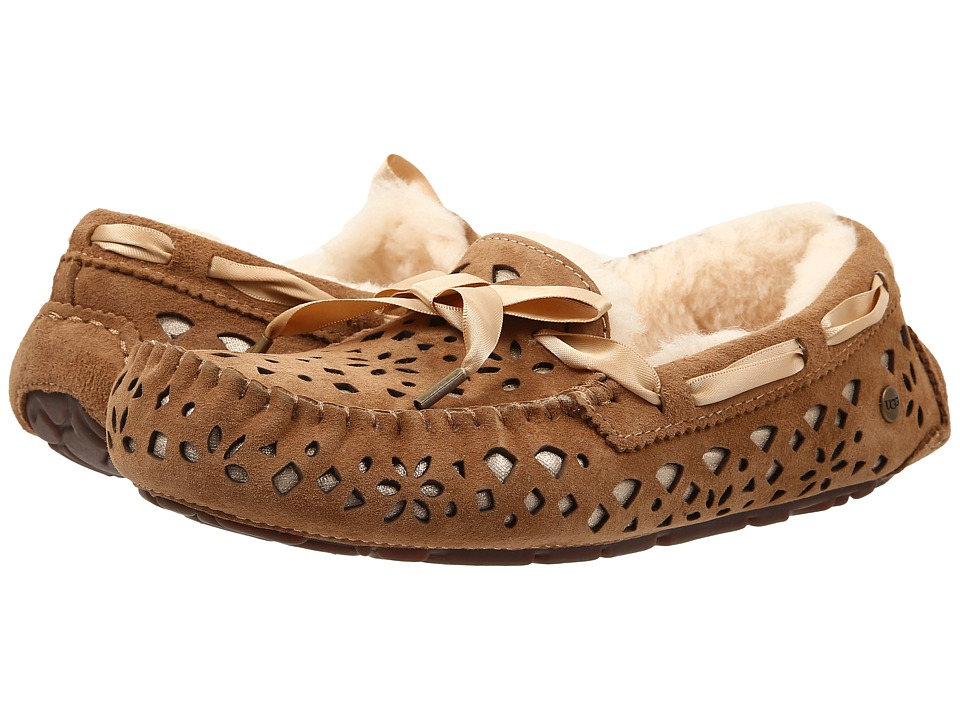 UGG - Dakota Flora Perf (Chestnut Water Resistant Suede) Women's Moccasin Shoes