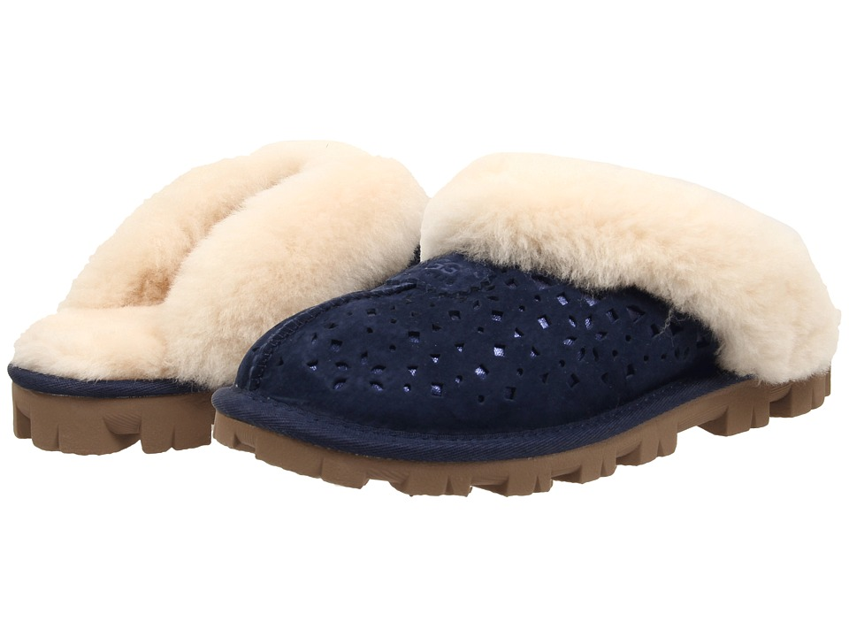 UGG - Coquette Flora Perf (Navy Water Resistant Suede) Women's Slip on Shoes