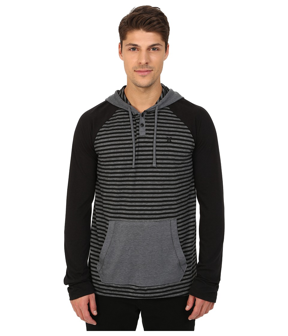 Hurley - Back Bay Raglan Hoodie (Black) Men's Sweatshirt