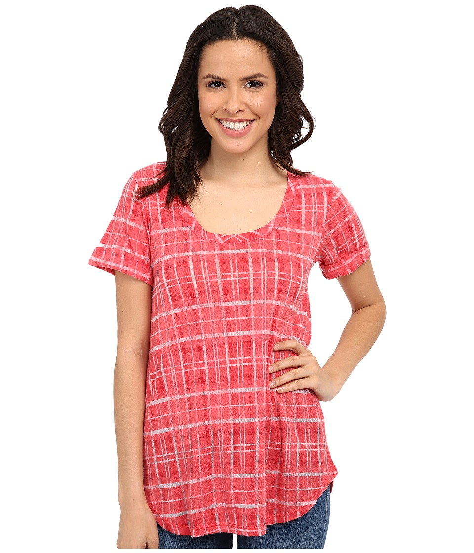 Allen Allen - Plaid Tee (Begonia) Women's T Shirt