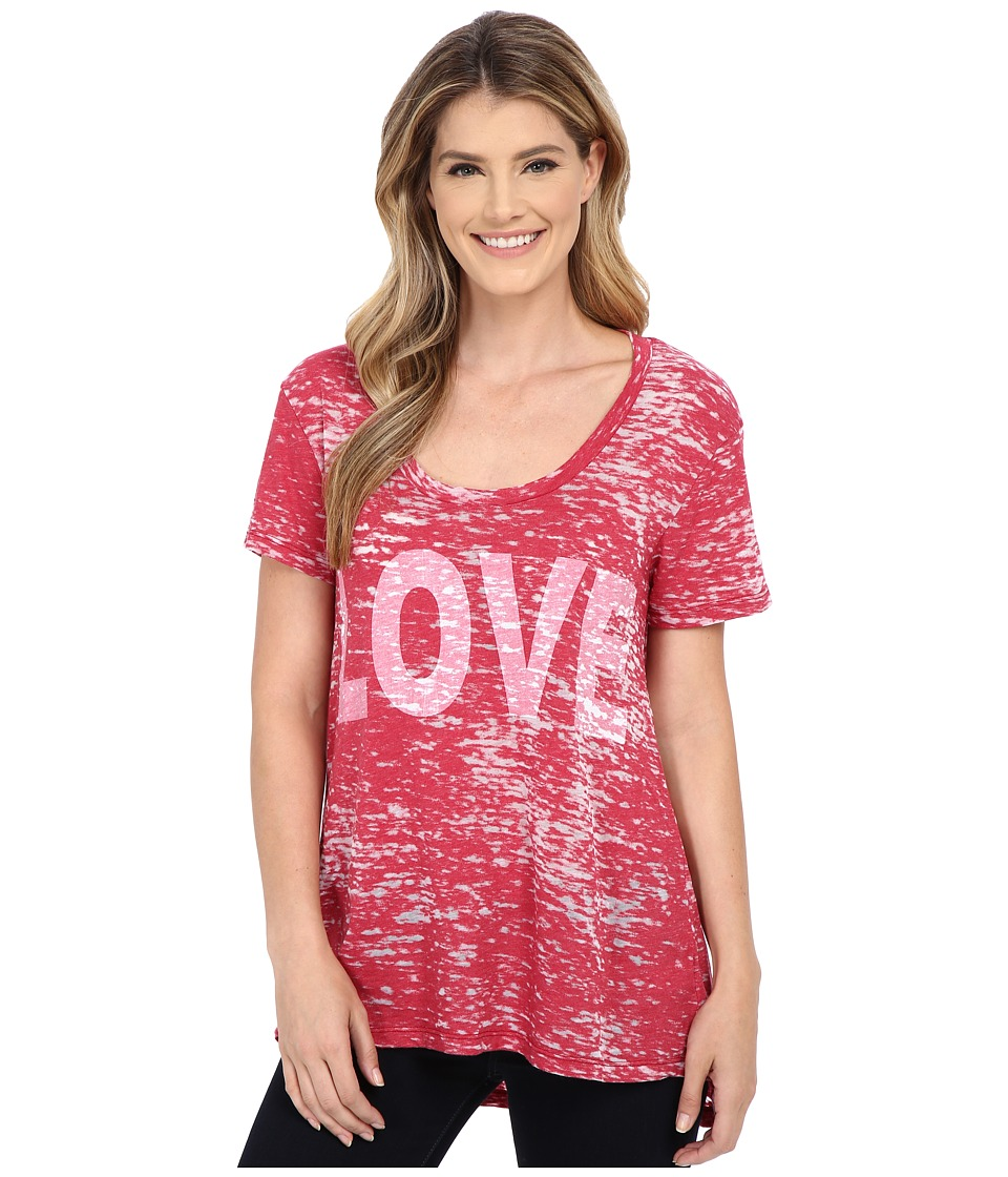 Allen Allen - Love Tee (Red) Women's Short Sleeve Pullover