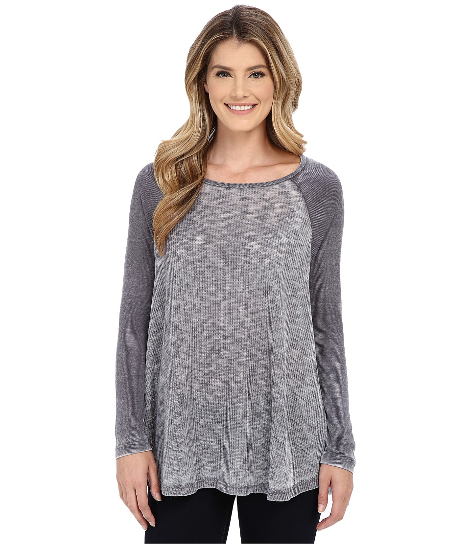 Allen Allen - Raglan Tunic (Jet Grey) Women's Long Sleeve Pullover