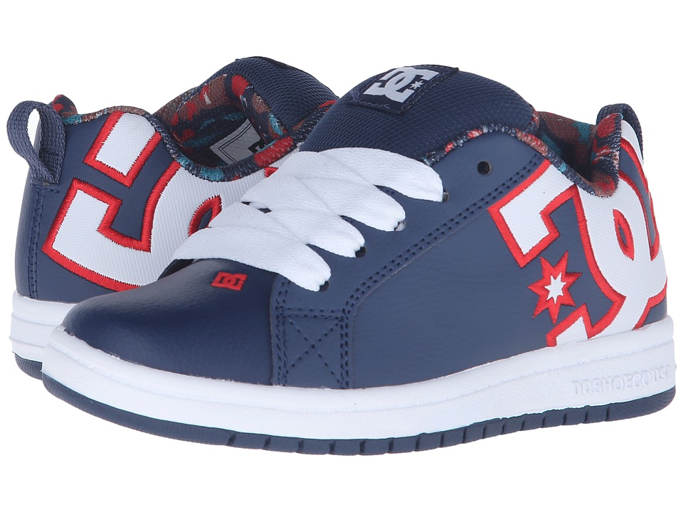 DC Kids - Court Graffik SE (Little Kid) (Navy) Boys Shoes