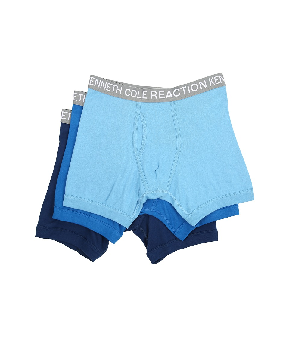 Kenneth Cole Reaction - 3-Pack Boxer Brief (Powder Blue/Cobalt/Grey) Men's Underwear