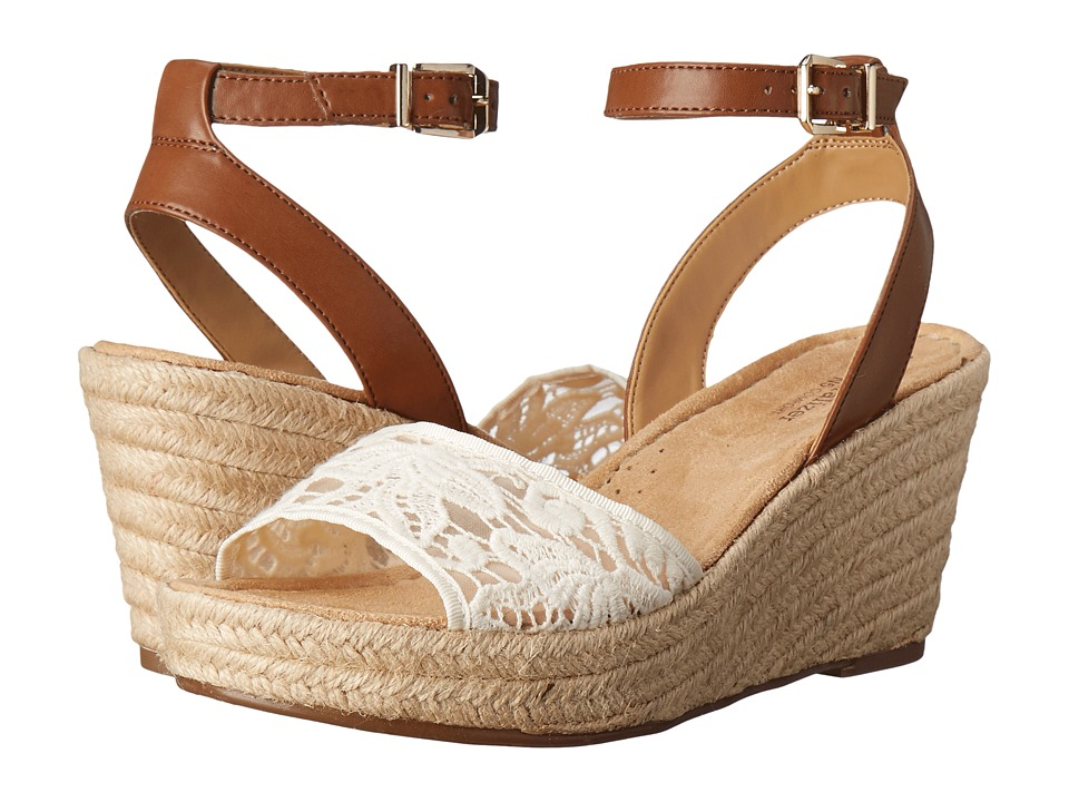 Naturalizer - Note (Ivory Lace/Saddle Tan Leather) Women's Wedge Shoes