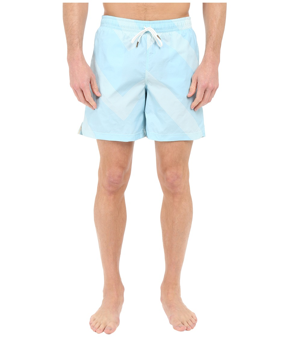 Billy Reid - Bay Swimshorts (Aqua/White) Men's Swimwear