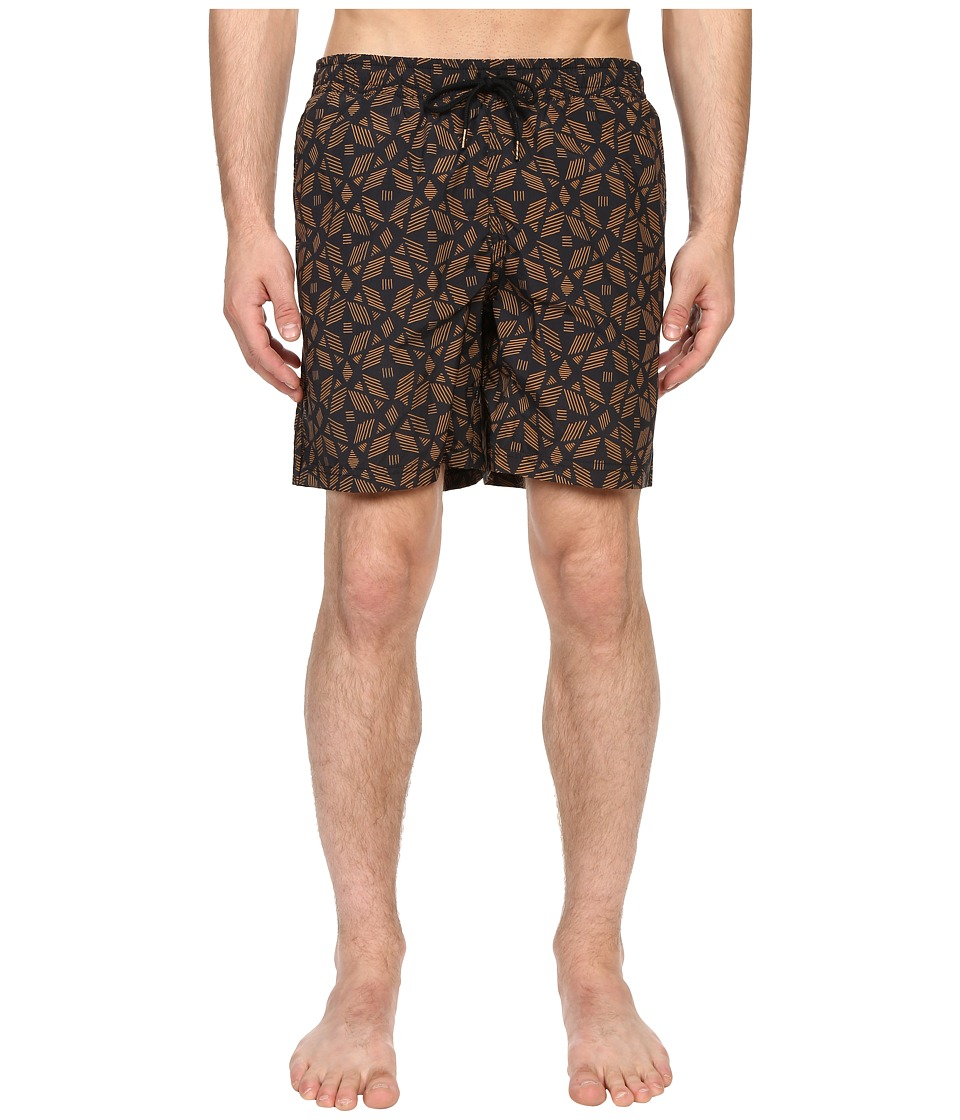 Image of Billy Reid - Bay Swimshorts (Gold/Black) Men's Swimwear