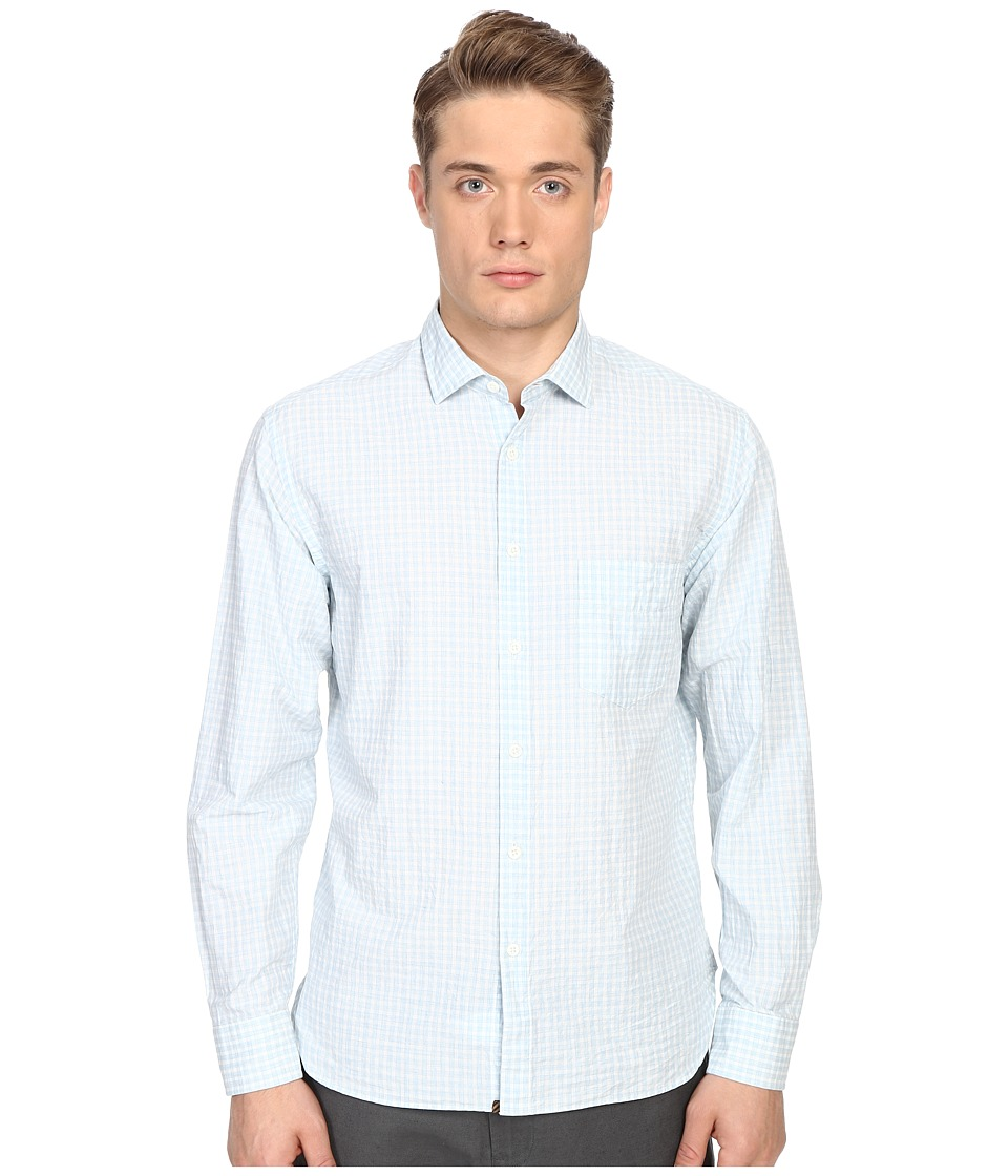 Billy Reid - John T-Shirt Button Up (Light Blue/White) Men's Long Sleeve Button Up