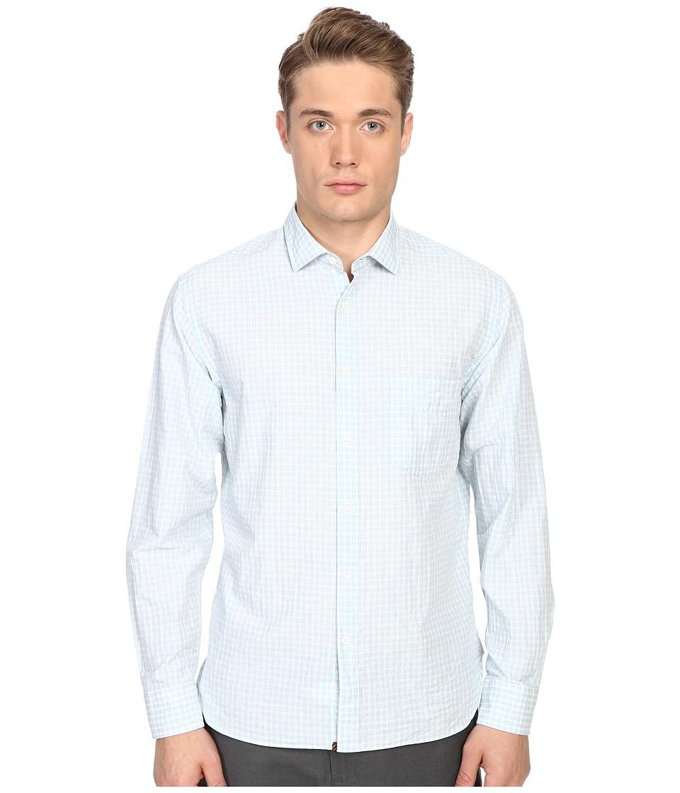 Billy Reid - John T-Shirt Button Up (Light Blue/White) Men's Long Sleeve Button Up