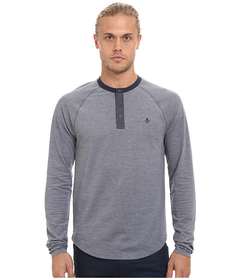 Original Penguin - Indigo Henley (Dark True Indigo) Men's Long Sleeve Pullover