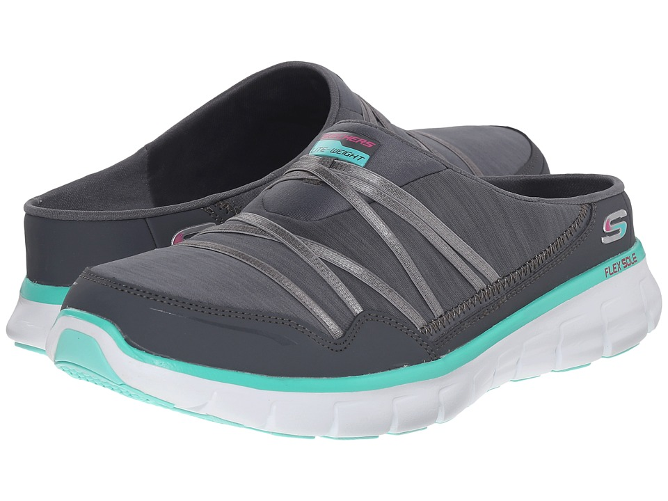 SKECHERS - Synergy - Air Streamer (Gray/Aqua) Women's Slip on Shoes