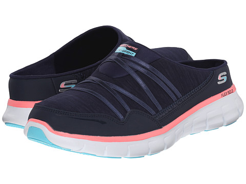 SKECHERS - Synergy - Air Streamer (Navy/Pink) Women's Slip on Shoes