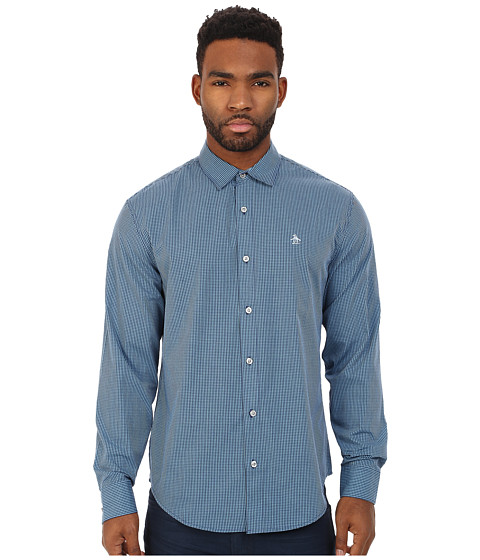 Original Penguin - Gingham Long Sleeve Shirt (Patriot Blue) Men