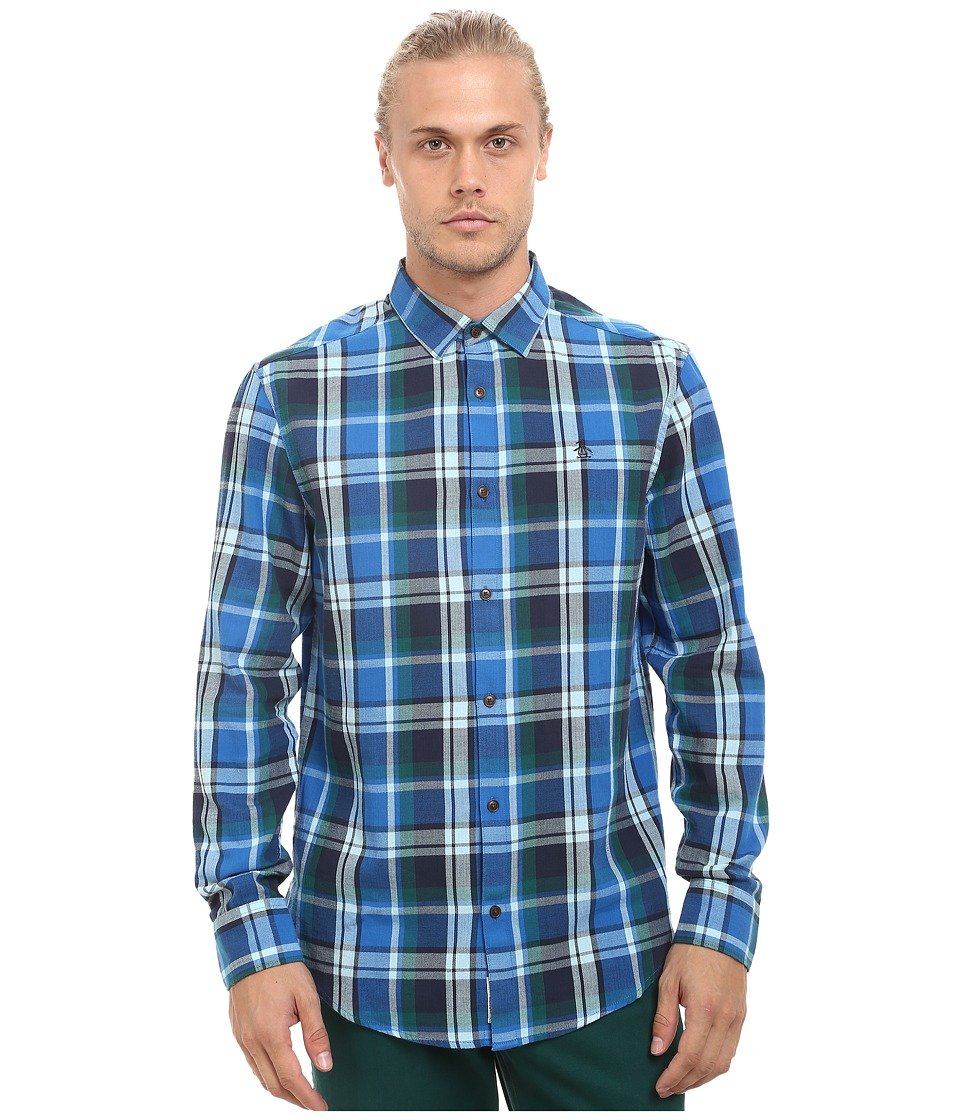 Original Penguin - Flannel Shirt (Skydiver) Men's Long Sleeve Button Up