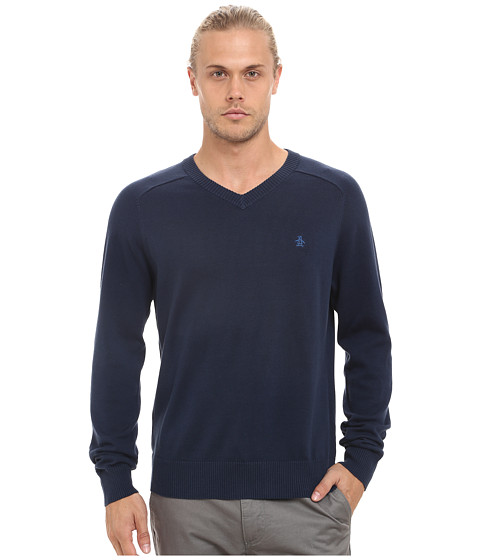 Original Penguin - Long Sleeve Fully Fashioned (Dress Blues) Men's Sweater