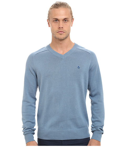Original Penguin - Long Sleeve Fully Fashioned (Blue Shadow) Men