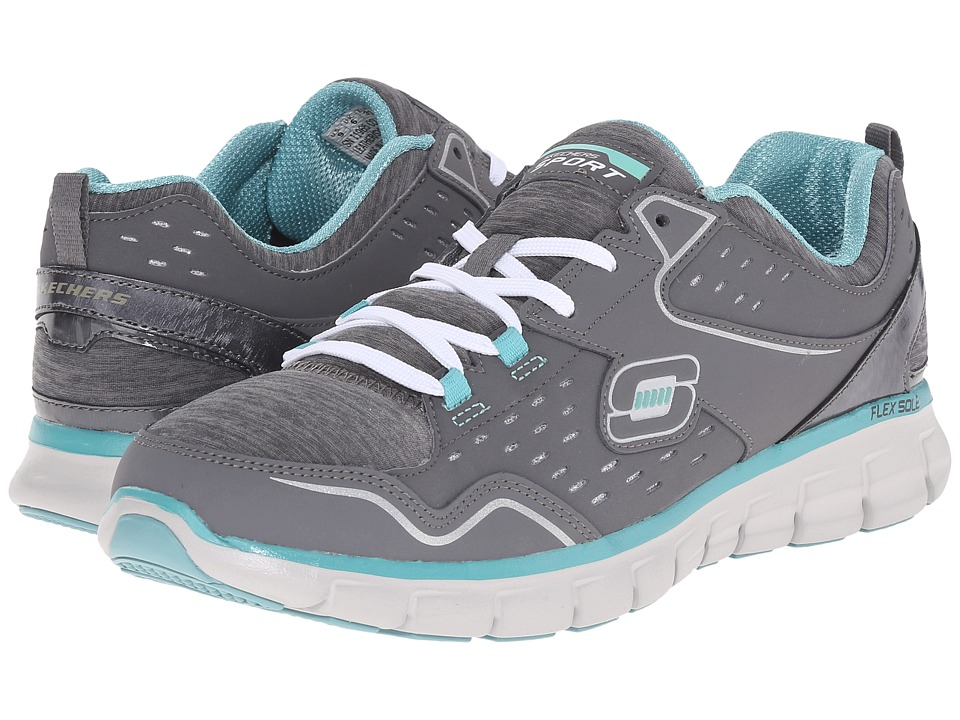 SKECHERS - Synergy - Modern Movement (Gray/Aqua) Women's Running Shoes