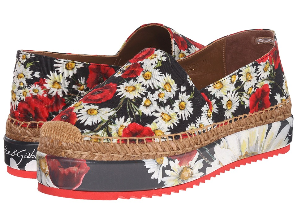 Dolce & Gabbana - Espadrillas Broccato Platform (Papaveri/Nero) Women's Shoes