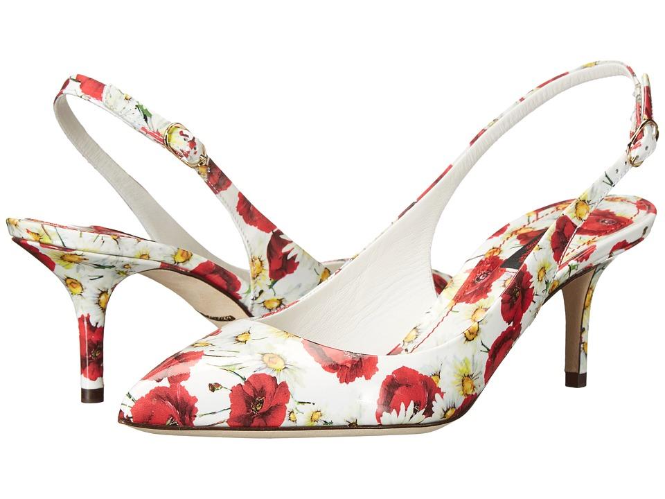 Dolce & Gabbana - Slingback Vernice (Papaveri/Bianco) Women's Shoes