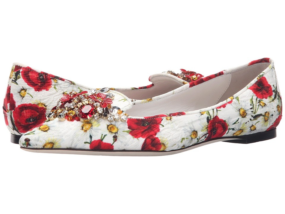 Dolce & Gabbana - Pantofolo Broccatto (Papaveri/Bianco) Women's Shoes