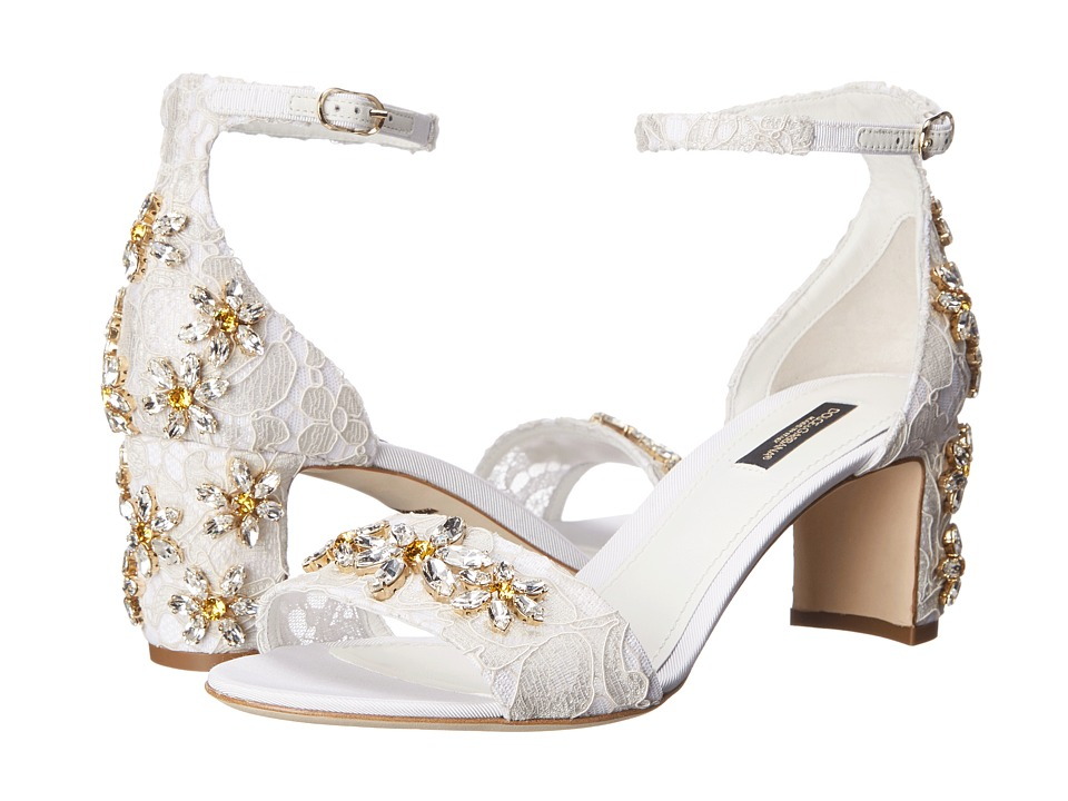 Dolce & Gabbana - Sandalo Pizzo Mid Heel (Bianco) High Heels