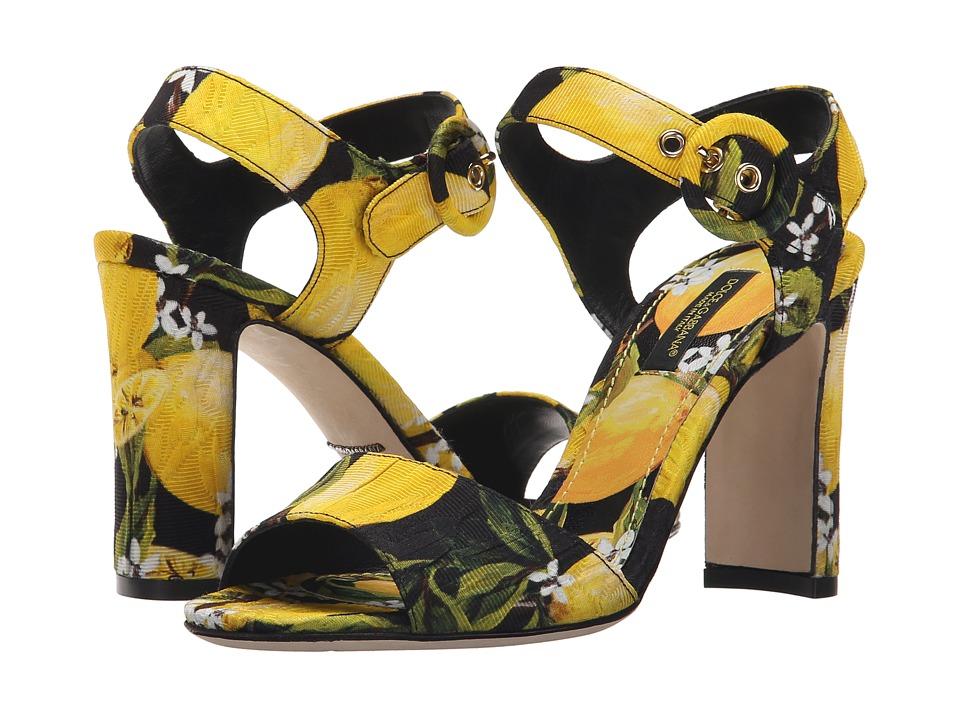 Dolce & Gabbana - Sandalo Broccato (Limoni Fondo Nero) Women's Shoes