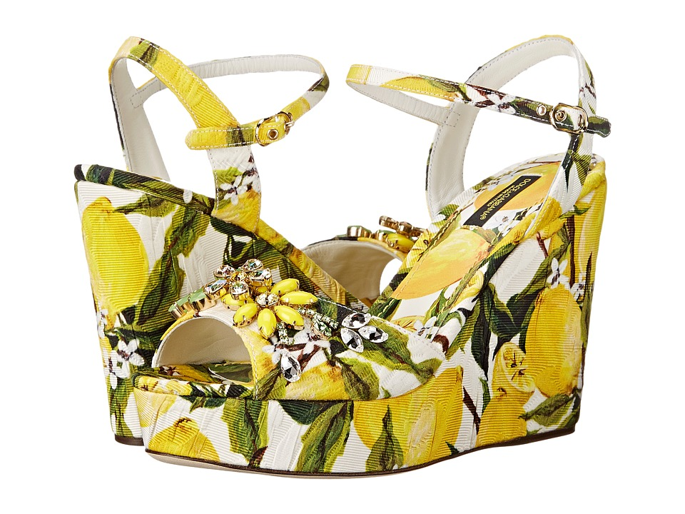 Dolce & Gabbana - Sandalo Zeppa Broccatto (Limoni Fondo Bianco) Women's Shoes
