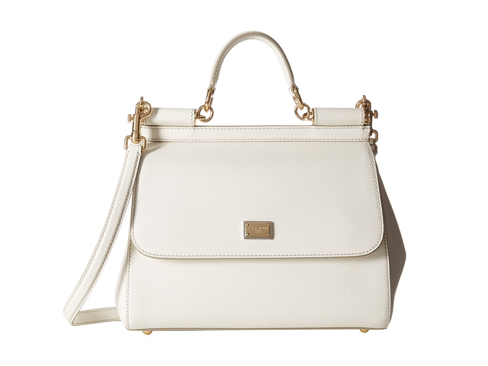 Dolce & Gabbana - Borsa A Mano Vitello Stampa Dauphine (Bianco) Top-handle Handbags