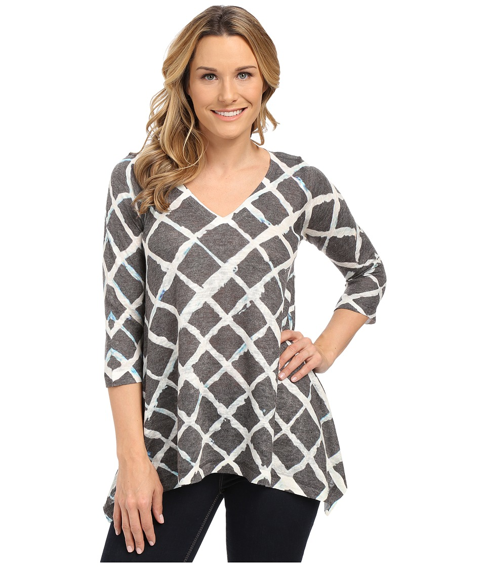 Nally & Millie - Grid Print Tunic (Black/White) Women's Blouse