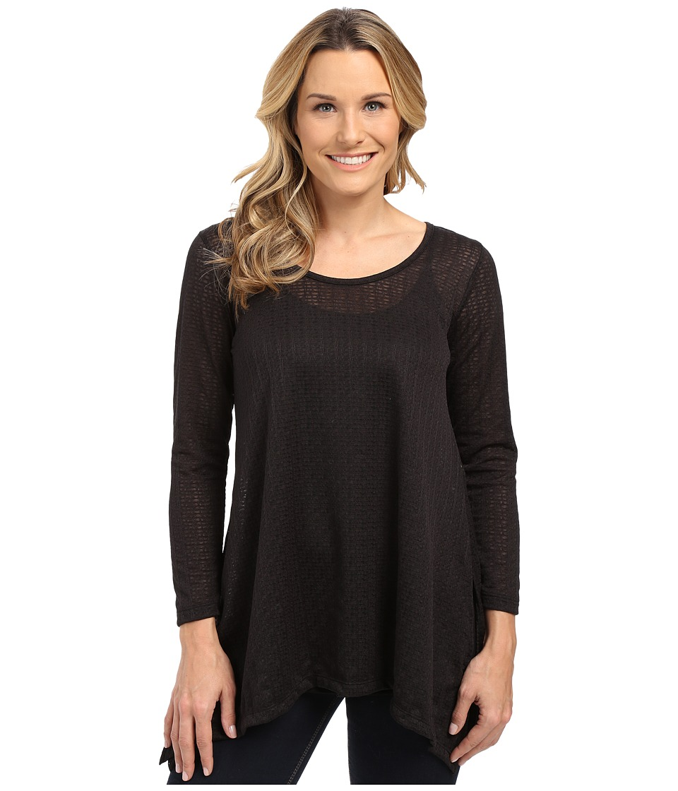 Nally & Millie - Long Sleeve Lace Tunic with Layer (Black) Women's Blouse
