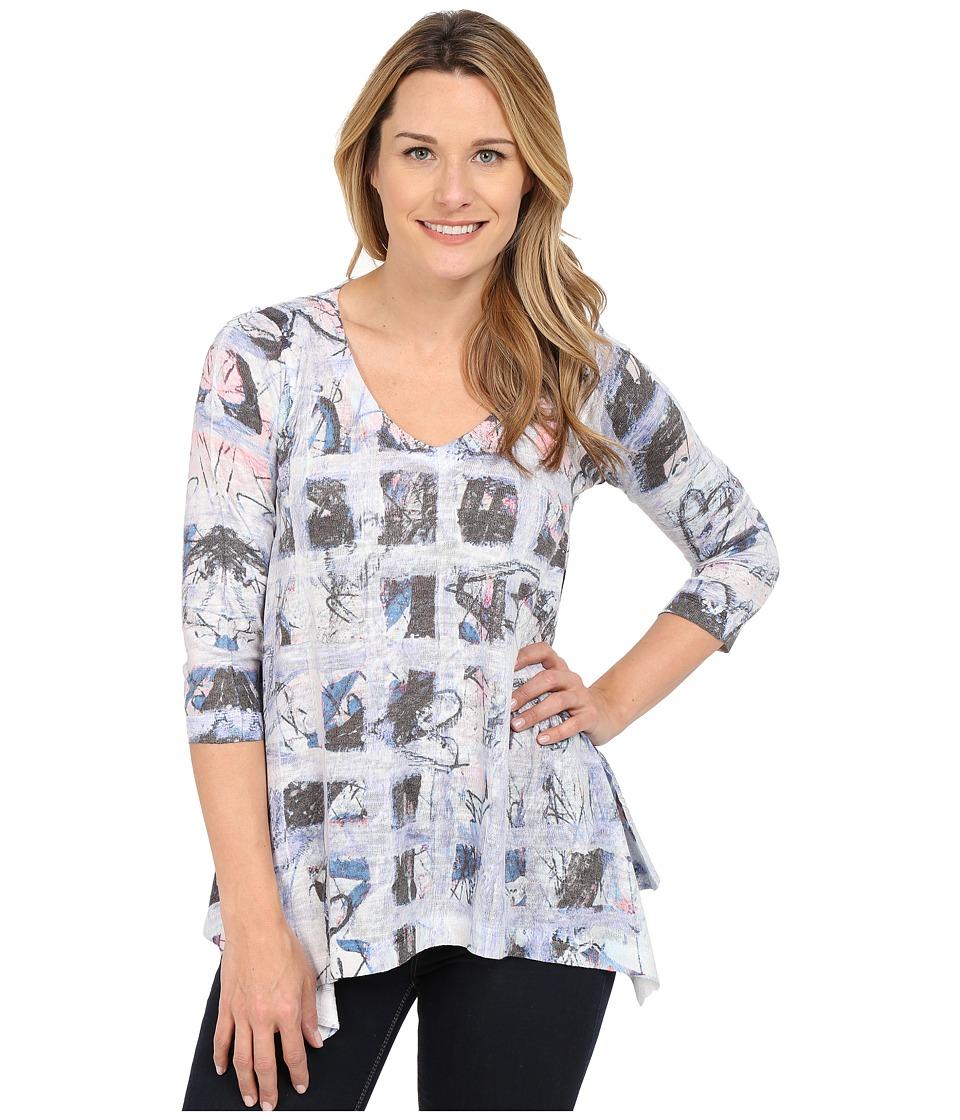Nally & Millie - Blue Grid Multi Tunic (Blue Multi) Women's Blouse