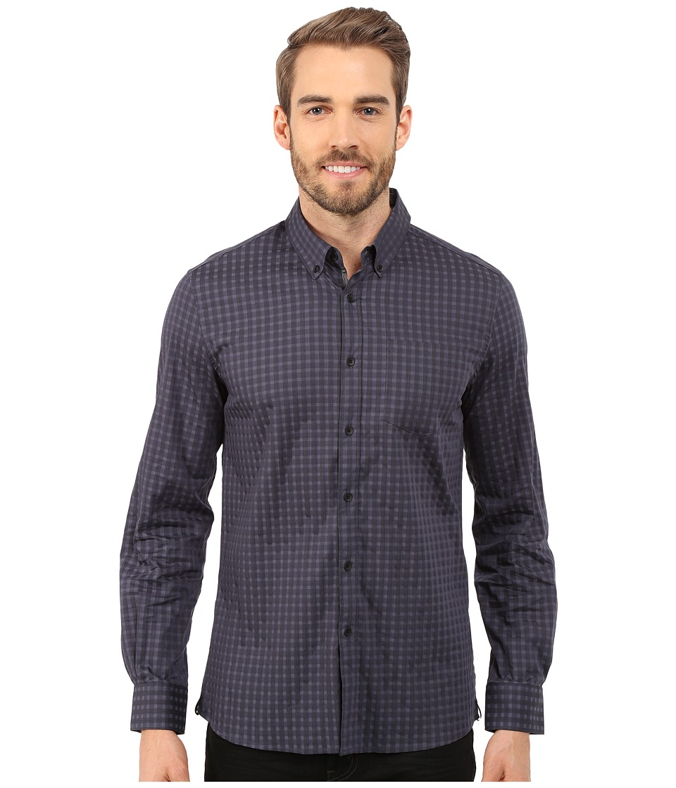 Kenneth Cole Sportswear - Long Sleeve Button Down Collar One-Pocket Stripe (Black Combo) Men's Long Sleeve Button Up