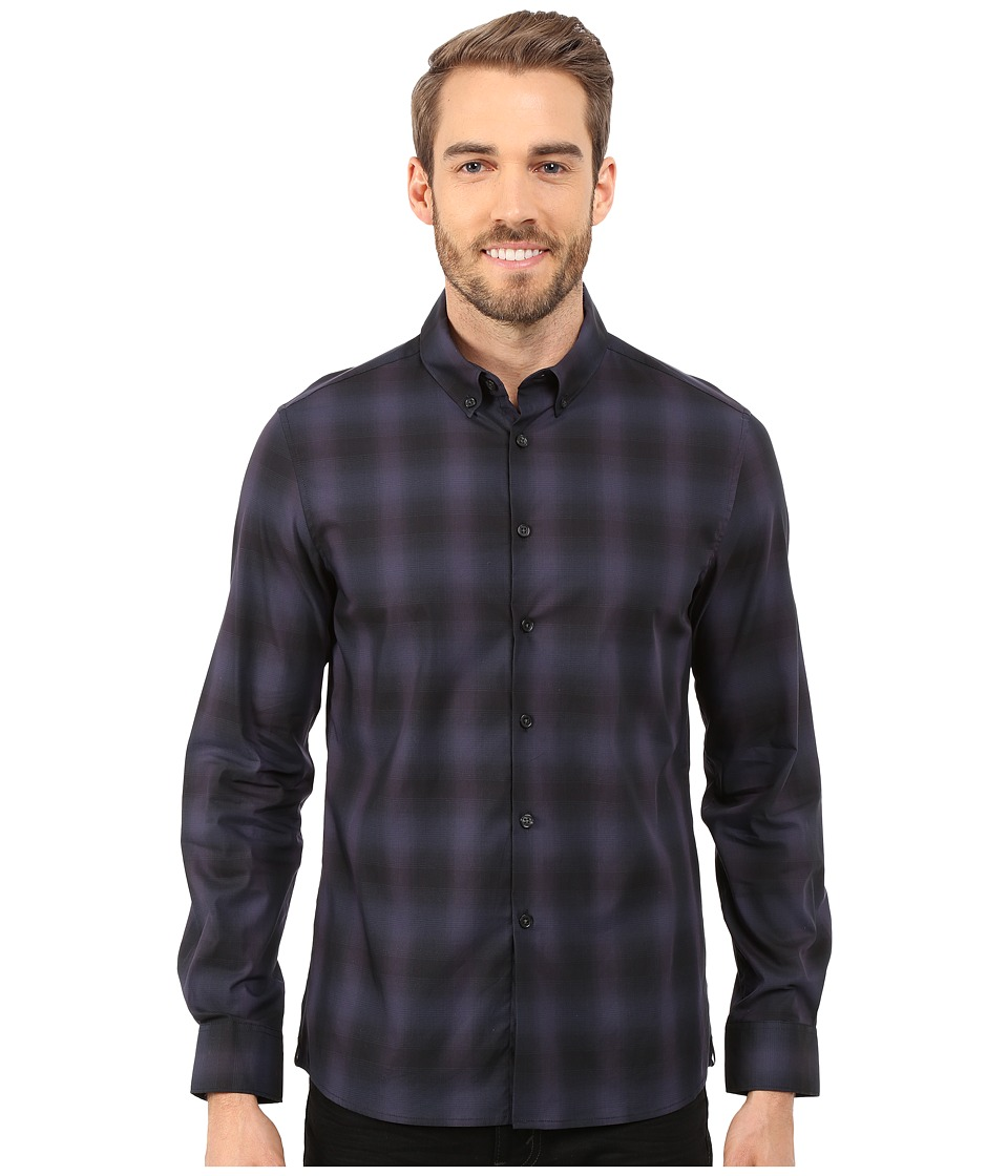 Kenneth Cole Sportswear - Long Sleeve Button Down Collar Slim Ombre Plaid (Dark Ocean Combo) Men's Long Sleeve Button Up