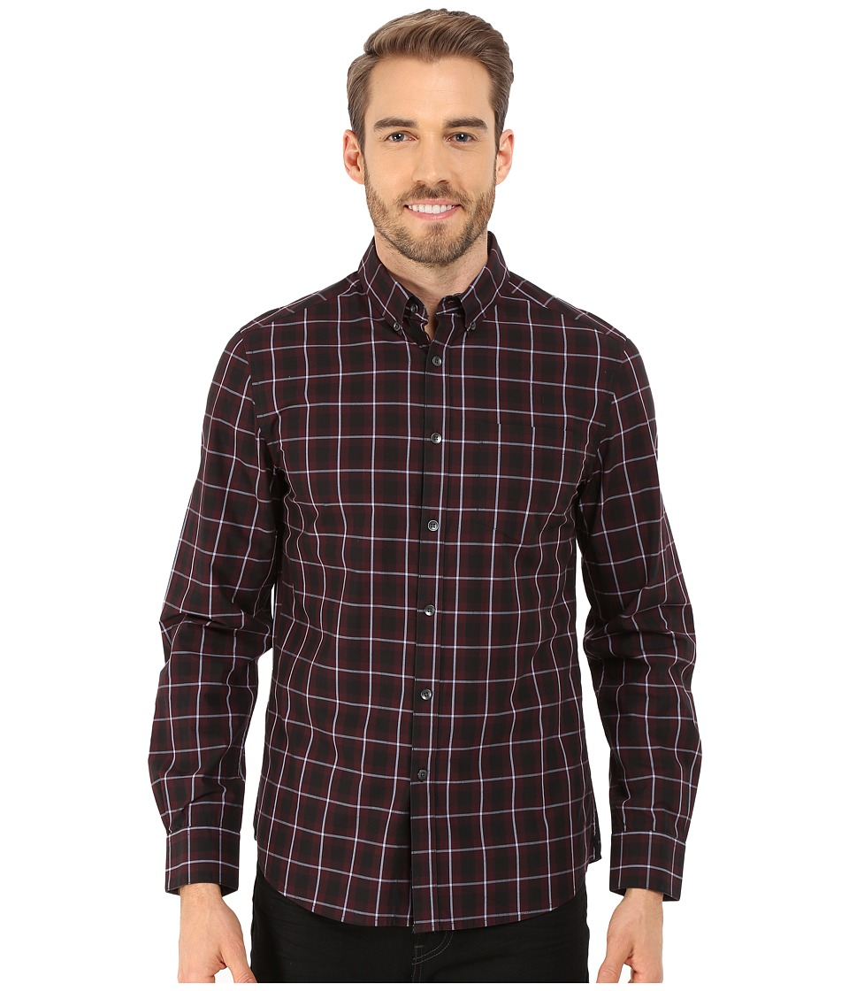 Kenneth Cole Sportswear - Long Sleeve Button Down Collar One-Pocket Large Check (Ember Combo) Men