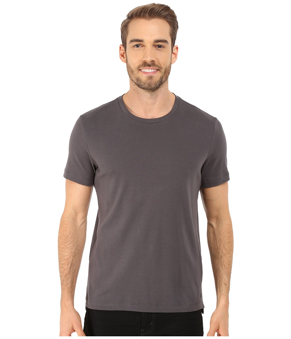 Kenneth Cole Sportswear - Short Sleeve Rib Crew w/ Zipper (Ash Grey) Men's T Shirt