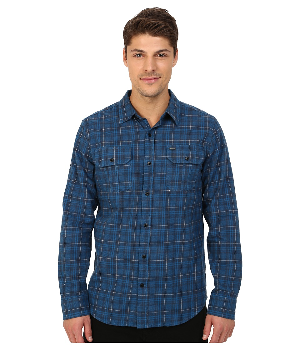 Hurley - Dayton Long Sleeve Flannel (Squadron Blue) Men's Long Sleeve Button Up