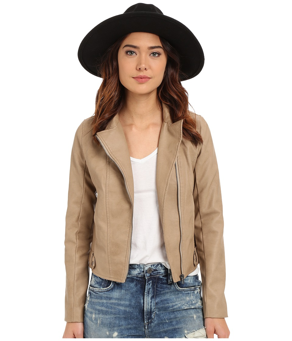Jack by BB Dakota - Kenickie Garment Washed Tubled PU Jacket (Light Khaki) Women's Coat