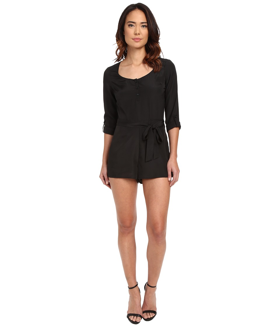 Jack by BB Dakota - Patty Crepon Button Front Romper (Black) Women's Jumpsuit & Rompers One Piece