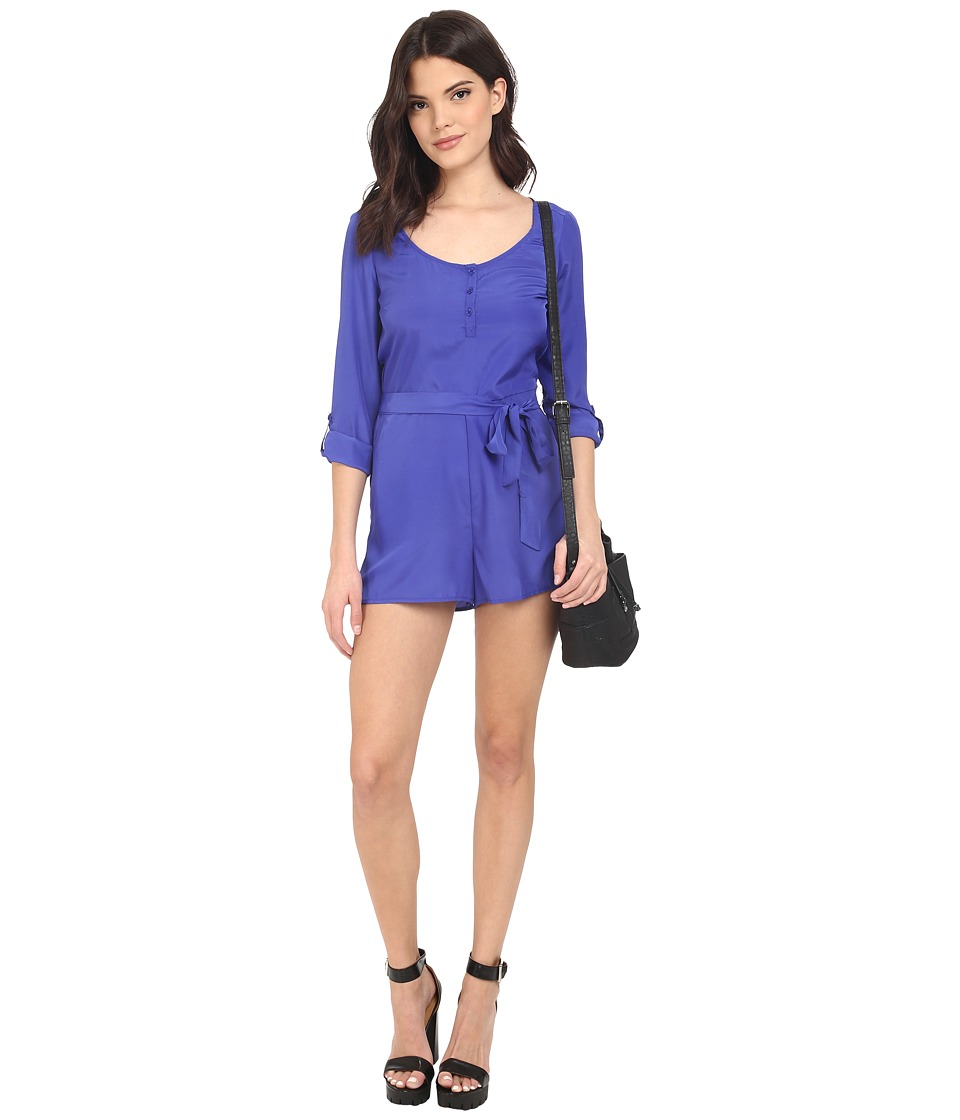 Jack by BB Dakota - Patty Crepon Button Front Romper (Royal Blue) Women's Jumpsuit & Rompers One Piece