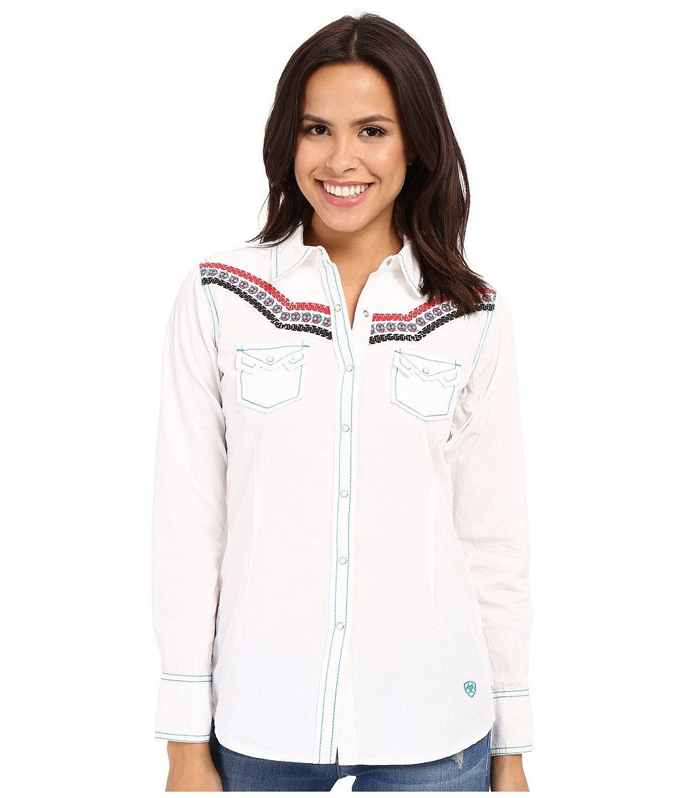 Ariat - Judy Snap Shirt (White) Women's Long Sleeve Pullover