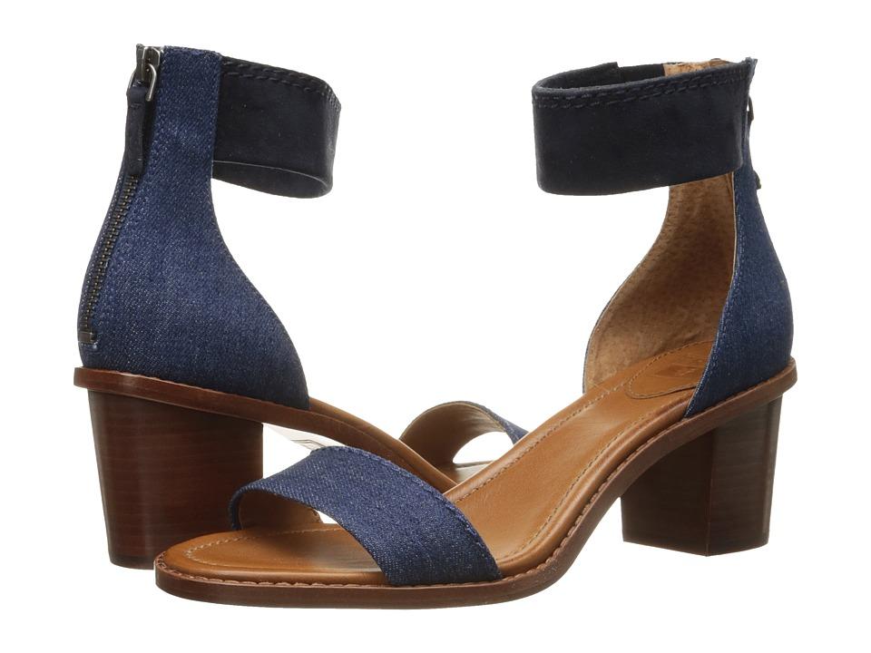 Frye Brielle Back Zip Sandal (Denim/Suede) High Heels