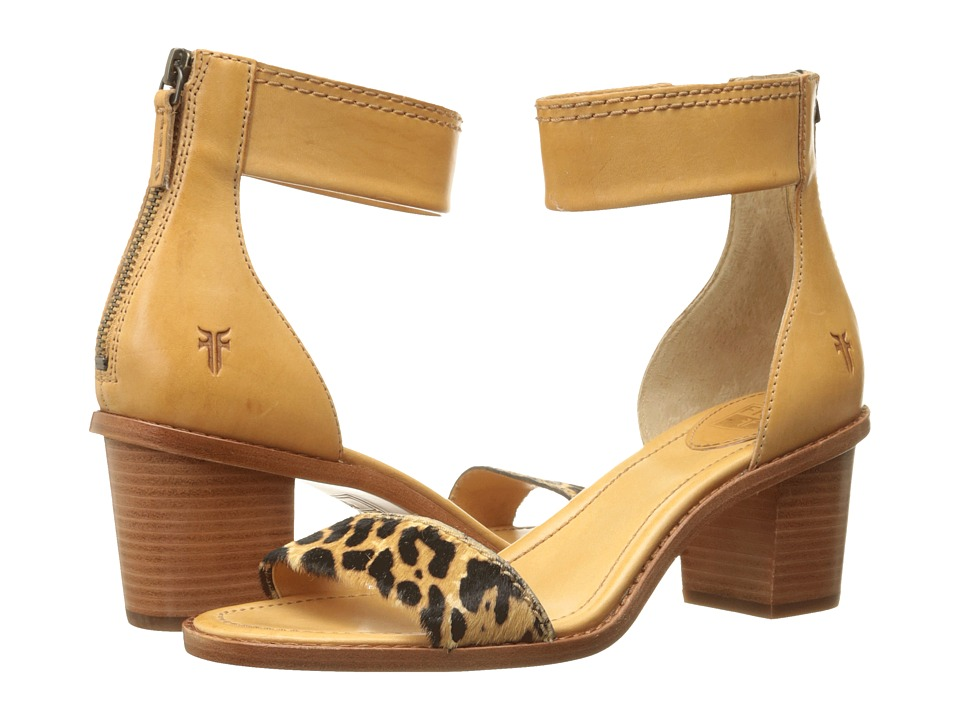Frye Brielle Back Zip Sandal (Leopard Haircalf/Smooth Full Grain) High Heels