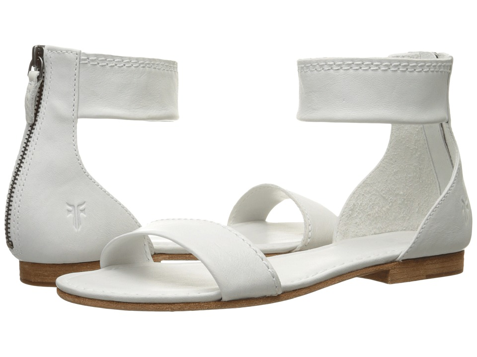 Frye - Carson Ankle Zip (White Soft Vintage Leather) Women's Sandals