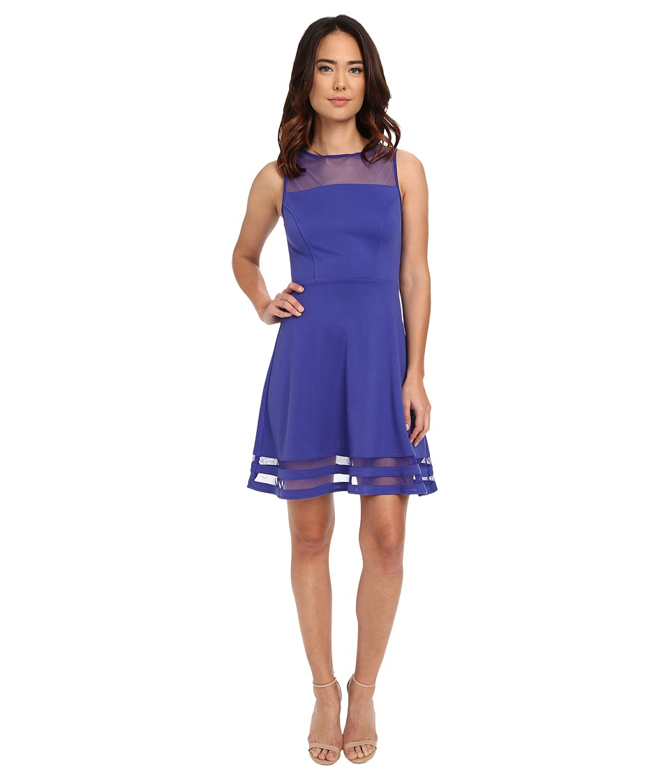 Jack by BB Dakota - Naomi Ponte and Mesh Fit and Flare Dress (Royal Blue) Women's Dress