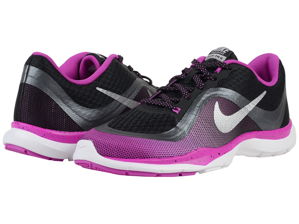 Nike - Flex Trainer 6 Print (Black/Hyper Violet/Metallic Hematite/Metallic SIlver) Women's Cross Training Shoes