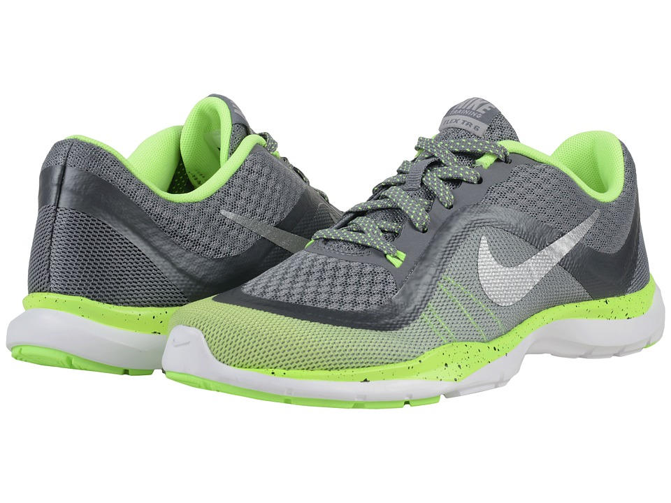 Nike - Flex Trainer 6 Print (Cool Grey/Ghost Green/Wolf Grey/Metallic Silver) Women's Cross Training Shoes
