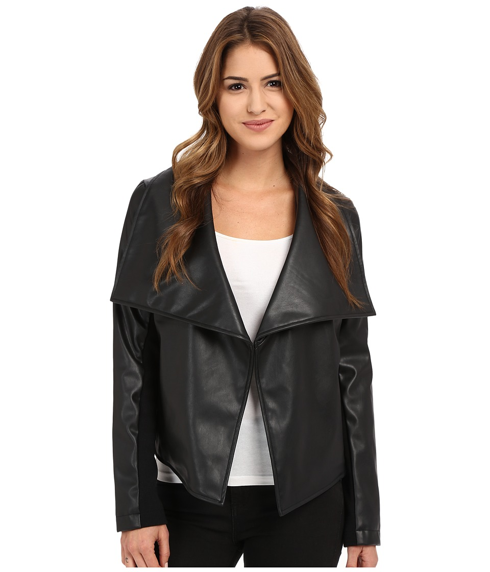 Jack by BB Dakota - Rizzo Soft Pu and Rib Trip Draped Front Jacket (Black) Women's Jacket